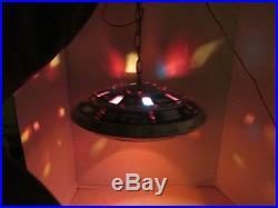 Vtg 70s Ceramic UFO Spaceship Flying Saucer Star War Hanging Blinking Light Lamp