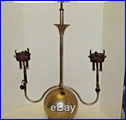 Vtg Akron Lamp Co Coleman Type Gas Hanging Chandelier Light Dual Burner 2 Arm