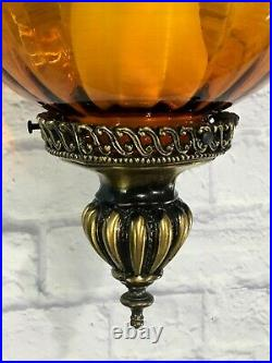 Vtg Amber Glass Hanging Light with Chain MCM Swag Lamp Ceiling Pendant Retro
