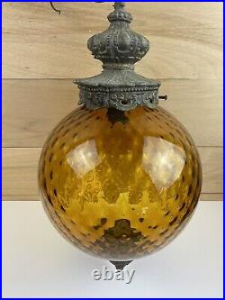 Vtg Amber Glass Hanging Light with Chain Swag Lamp Ceiling Pendant Mid Century