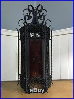 Vtg Antique Wrought Iron Spanish Revival Gothic Stained Glass Hanging Swag Lamp