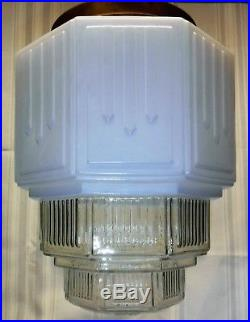 Vtg Art Deco Hanging Skyscrsper Pendant Church Light Globe Milkglass Fixture