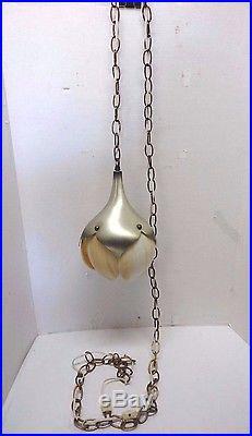 Vtg Beige White Glass Swirl Flower Petal Tulip Shade Hanging Light Fixture Lamp