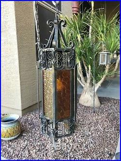 Vtg Black Wrought Iron Spanish Revival Gothic Amber Glass Hanging Swag Lamp