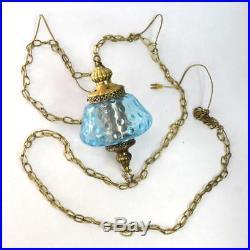 Vtg Blue Glass Brass Metal Swag Hanging Pendant Lamp Light Home Lighting Decor