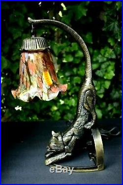 Vtg. Bronze Metal Cat Lamp Hanging Murano Tulip Shade Amber Eyes POUNCING 14