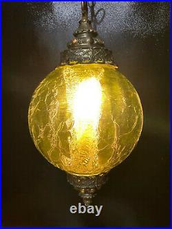 Vtg CEILING LIGHT Hanging Green Glass Swag pendant lamp 60s Decor