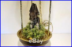 Vtg Creators Hanging Swag Mineral Oil Motion Rain Lamp Grist Mill Water Wheel