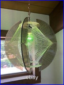 Vtg DANISH MODERN String PENDANT Light MID-CENTURY Swag LAMP Hanging MCM 60s 70s