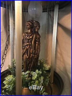 Vtg Eames Era MID Century Hanging 3 Goddess Oil Rain Hanging Lamp 36 Works