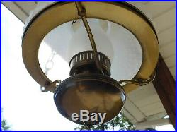 Vtg Electric Hanging Antique Colonial Oil Lamp Style Chandelier Milk Glass Shade