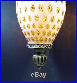 Vtg Fenton Honeysuckle Opalescent Hanging Swag Lamp Light Coin Dot Glass Globe