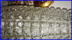Vtg Fredrick Ramond Hanging Swag Glass Lamps Chandeliers Double Pineapple