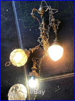 Vtg Glass Hanging Light Lamp Swag Mid Century 1970s Large Gothic 3 Ball Ceiling