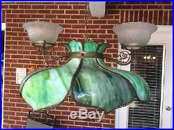 Vtg Green Marbled Bent Slag Glass Hanging Pendant Lamp/ Light 2 Gas Shades