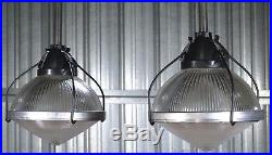 Vtg HOLOPHANE 11 INDUSTRIAL PENDANT LIGHT fixture hanging ceiling lamp 6 LEFT