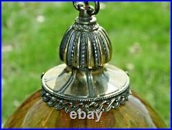Vtg Hanging Ball Lamp Mid Century Modern Amber Glass 19 Tall