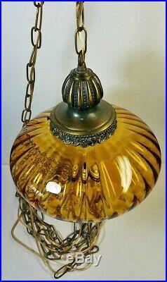 Vtg Hanging Lamp Swag Light Amber Glass UFO Globe Hollywood Regency Rewired