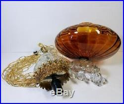 Vtg Hanging Lamp Swag Light Amber Globe Glass Prisms Hollywood Regency Rewired