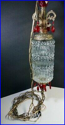 Vtg Hanging Lamp Swag Light Globe Red Glass Prisms Rewired Hollywood Regency