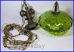Vtg Hanging Lamp Swag Light Green Globe Glass Prisms Hollywood Regency Rewired