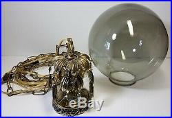 Vtg Hanging Lamp Swag Light Smoke Globe Glass Prisms Hollywood Regency Rewired
