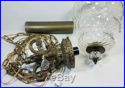 Vtg Hanging Lamp Swag Light Swirl Globe Glass Prisms Hollywood Regency Rewired