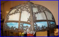 Vtg Hanging Slag Glass 3 Light Chandelier Metal Frame with Tree & Grasses Design
