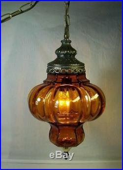 Vtg Hanging Swag Lamp Amber Glass Globe Retro Light Rewired