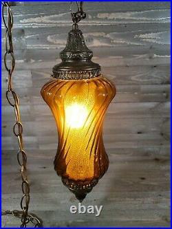 Vtg Hanging Swag Lamp Amber Gold Swirl Optic Glass #2