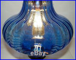 Vtg Hanging Swag Lamp Onion Blue Glass Tall Brass Atomic UFO Mid Century Modern