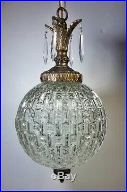 Vtg Hanging Swag Lamp Unique Globe Glass Prisms Hollywood Regency Light Rewired