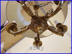 Vtg Hollywood Regency Brass Aluminum Hanging Swag Light Lamp Chandelier Fixture