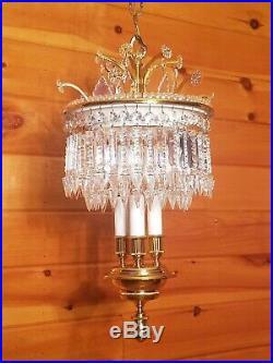 Vtg Hollywood Regency Crystal Hanging Chandelier Swag Light/Lamp