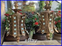 Vtg Hollywood Regency Gold With Crystals Hanging Swag Lamp