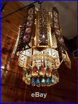 Vtg Hollywood Regency Gold with Iridescent Crystals Retro Hanging Swag Light/Lamp