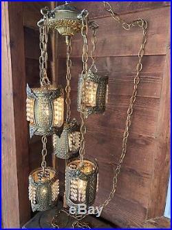 Vtg Hollywood Regency Metal Filagree 5 Pendant Heavy Bronze Hanging Swag Lamp