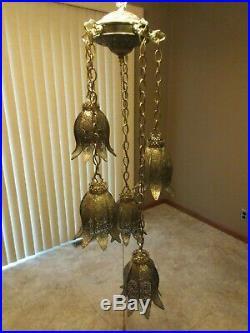 Vtg Hollywood Regency Metal Filigree Gold 5 Pendant Hanging Swag Lamp- Mint