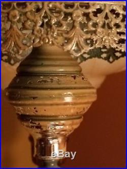 Vtg Hollywood Regency ROSETTE Metal Filagree PENDANT Lantern Hanging SWAG LAMP
