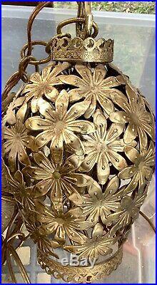 Vtg Hollywood Regency brass hanging Filigree Mid Century 5 Light Swag Lamp