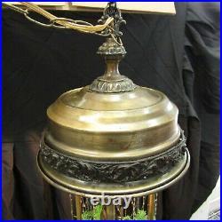 Vtg Johnson Industries Oil Rain Hanging Lamp withWoman Statue Works MP273