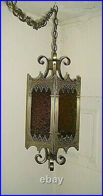 Vtg Large Retro Gothic Spanish/Tudor Hanging Swag Light/Lamp-Blue Amber Red
