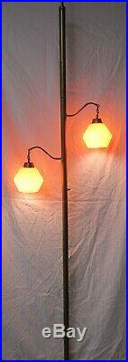 Vtg MCM Atomic Tension Pole Light Floor Lamp 2 Bulb Hanging Orange Glass Shades