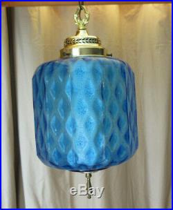 Vtg MCM BLUE GLASS HANGING SWAG LAMP 25 INCH With Diffuser RETRO