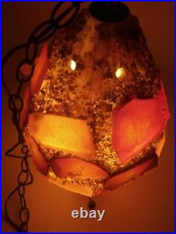 Vtg MCM CHUNKY LUCITE ROCK CANDY Hanging SWAG LAMP Light Spaghetti LARGE EGG