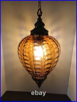 Vtg MCM Hanging Swag Lamp Amber Gold Optic Diffuser Glass Hollywood Regency GC