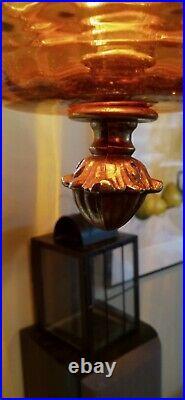 Vtg MCM Hollywood Regency Amber Glass Hanging Swag Lamp Light