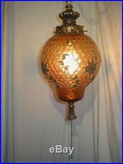 Vtg MCM Hollywood Regency Amber Glass Hanging Swag Lamp Light Carl Falkenstein