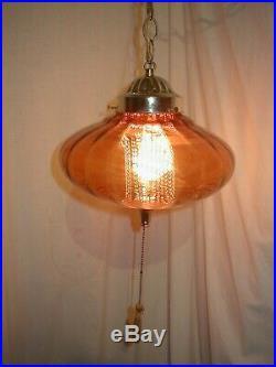 Vtg MCM Hollywood Regency Amber Glass Hanging Swag Lamp Light Flying Saucer Ufo
