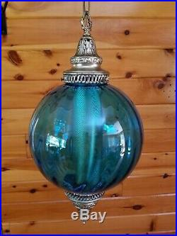 Vtg MCM Retro Atomic Blue Glass Hanging Ball Swag Light/Lamp